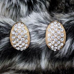 Antique Style Rhinestone Gold Tone Huggie Earrings